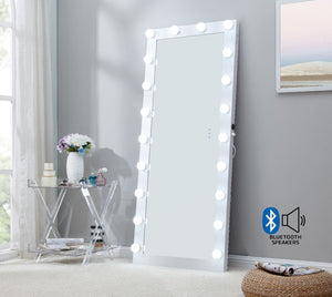 Hollywood Floor Mirror With Bluetooth Speaker - White