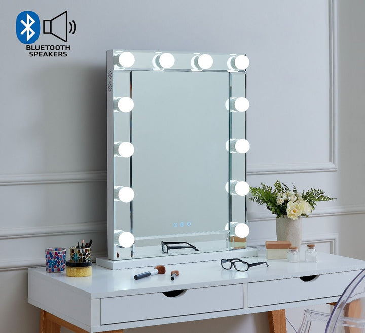 Hollywood Mirror With Bluetooth Speaker - Glass