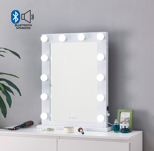 Hollywood Mirror With Bluetooth Speaker - White