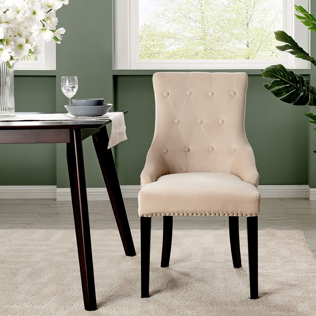 Lion Knocker Dining Chair-Cream Velvet