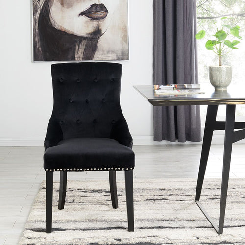 Lion Knocker Dining Chair-Black Velvet