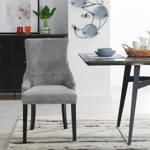 Lion Knocker Dining Chair-Grey Velvet
