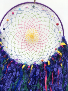 Bright colourful rainbow Dreamcatcher