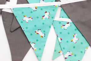 Unicorn Mint and Grey Bunting