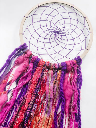 Pink purple Dreamcatcher on wooden hoop