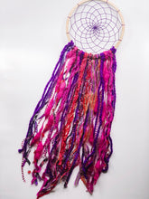 Load image into Gallery viewer, Pink purple Dreamcatcher on wooden hoop