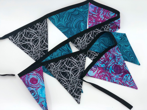 Handmade black purple green Blue Bunting