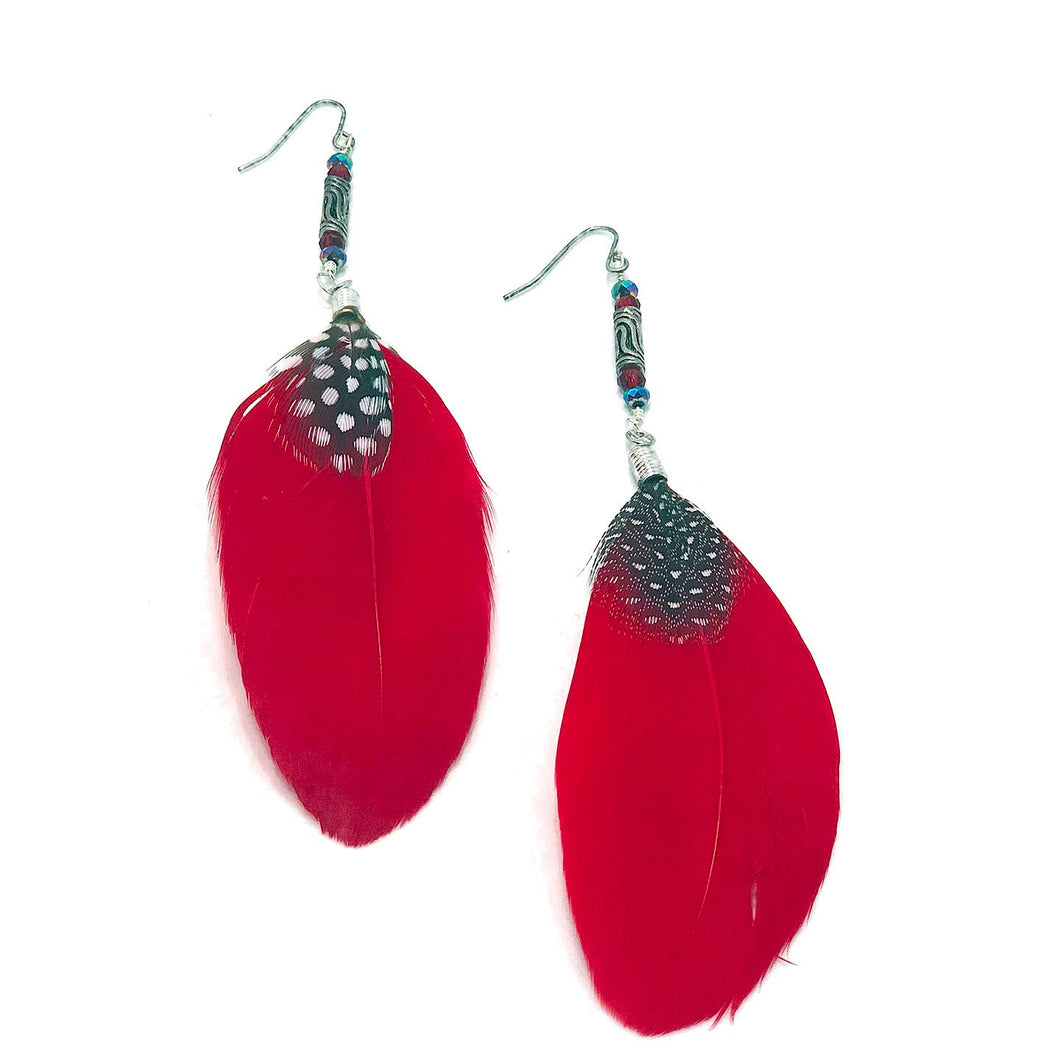 Red Feather Earrings, Bohemian Feather Earrings, Bohemian Earrings,