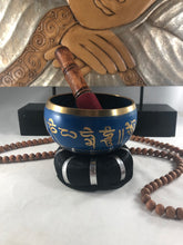 "Blue Tibetan Singing bowl 4"" Diameter with wooden stick and black cushion"