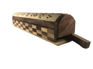 "Two tones wooden 12"" incense coffin box plus a FREE Incense package"