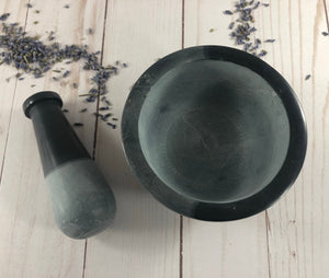 "Two Tone Dark and Gray Mortar and Pestle- 2.5""H x 4""D"