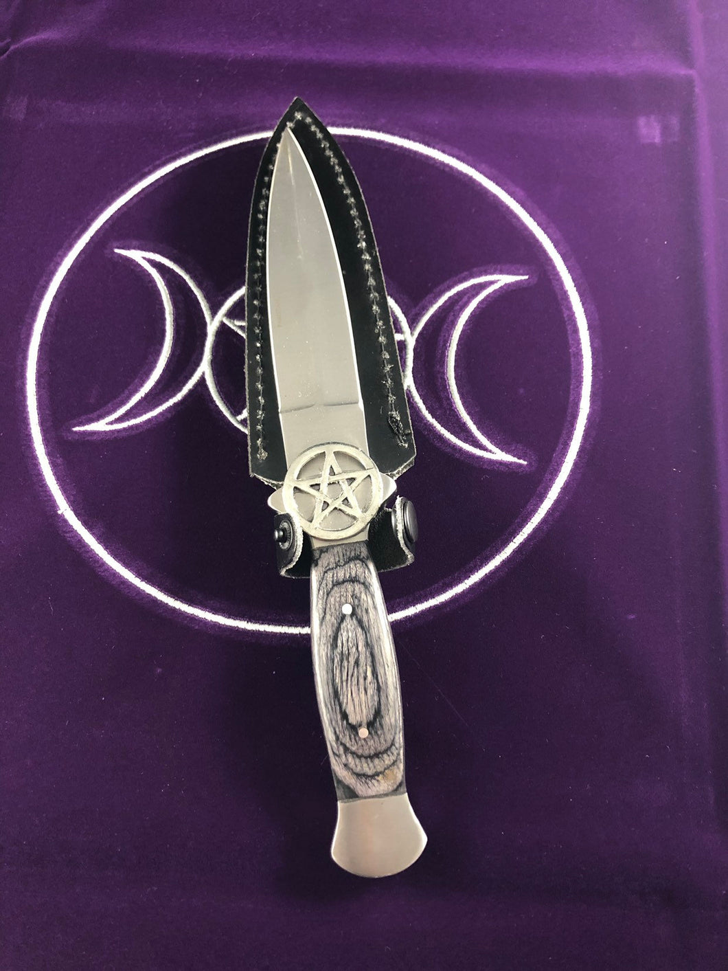 Pentagram Athame with wooden black handle-  10