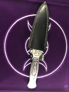 Pentagram Athame with wooden black handle-  10""