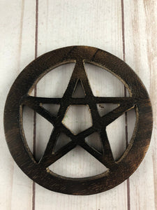 Wooden Pentagram Tile 4""