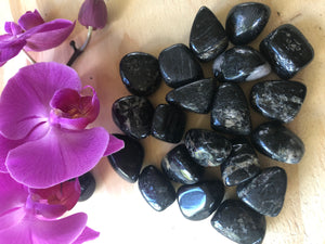 "Black Tourmaline Tumbled Stones- .75""-1"""