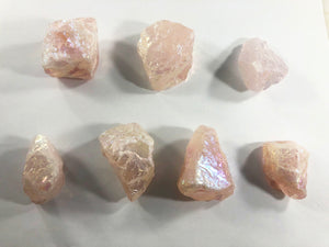 Aura Rose Quartz (Raw)/Rainbow Aura Rose Quartz