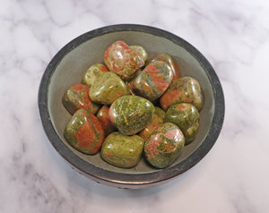 "Unakite Tumbled Stones 1""- Overcome blocks"