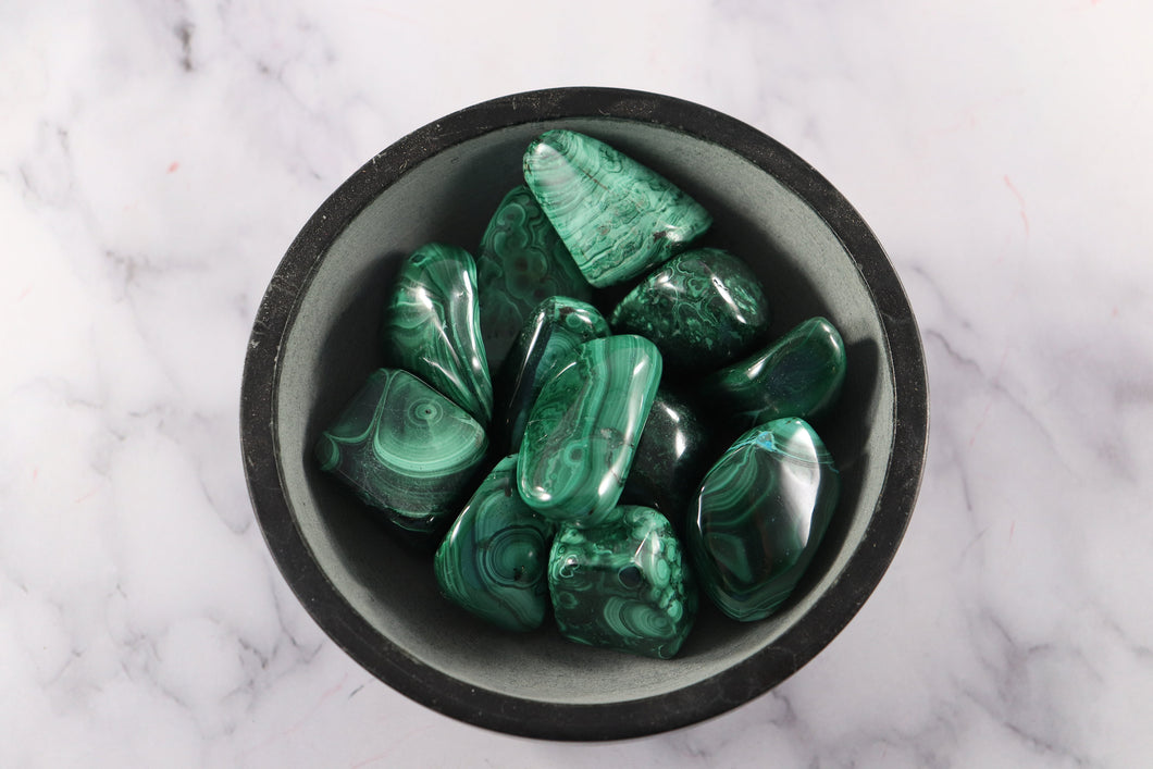 Malachite Tumbled Stones 1.5