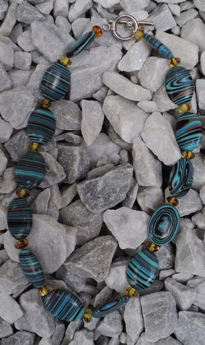 Blue Rainbow Calsilica and Amber  Necklace
