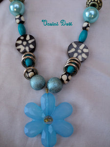 Baby Blue necklace with Flower pendant