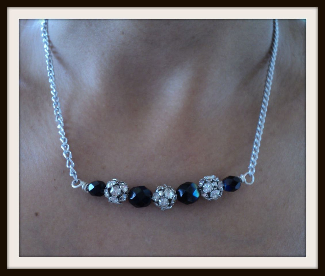 Silver Chain with black crystals and rhinestone beads