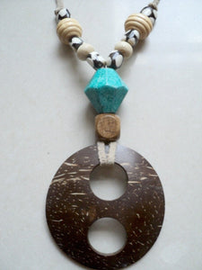 Coconut Necklace on Leather string
