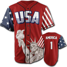 Load image into Gallery viewer, Red America #1 Baseball Jersey - Country America