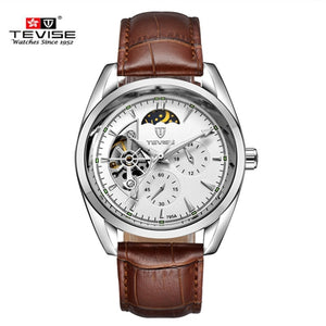 eb4f22df432 Men Watches Waterproof Automatic Mechanical Watch Luxury Brand TEVISE  Leather Strap Watch relogio masculino automatic male