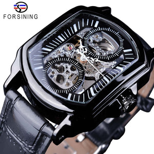 120052f07a6 Forsining 2018 Black Display Openwork Clock White Hands Unique Two Small  Circle Design Men s Automatic Watches