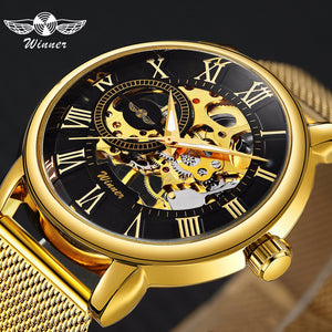 Hearty 2018 Winner Classic Golden Skeleton Mechanical Watch Men Leather Strap Top Brand Luxury Man Business Vip Drop Shipping Wholesale Mechanical Watches Watches