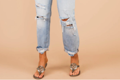 Ripped and Cuffed Jeans