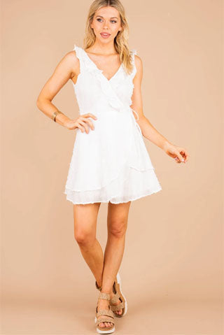 Need You More White Ruffled Dress