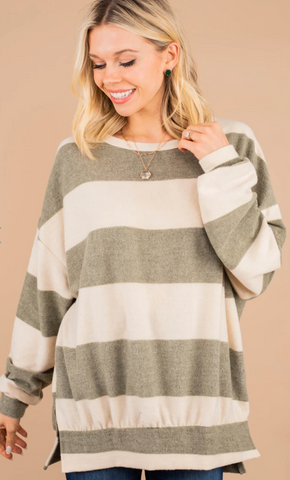 Nothing Compares Olive Green Striped Pullover