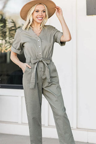 all in my head olive green utility jumpsuit