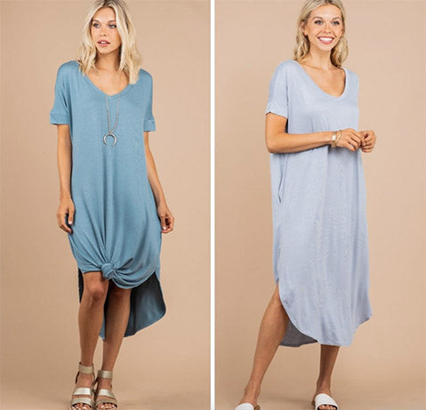 Just What You Wanted Ash Blue Midi Dress