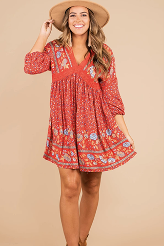 feeling so right red floral boho dress