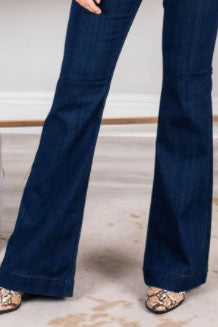flare jeans and high heels