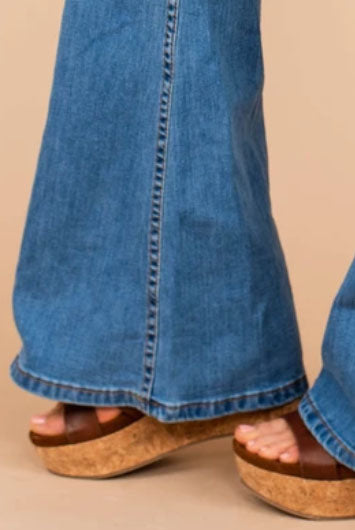 flare jeans wedges