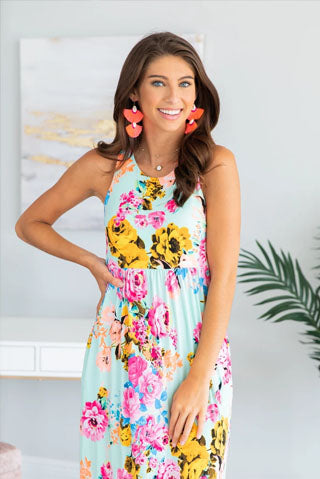 floral dress vibrant earrings