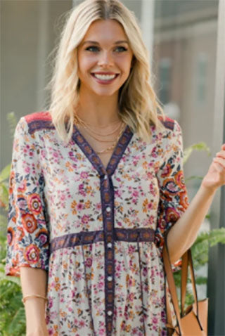 floral tunic on woman