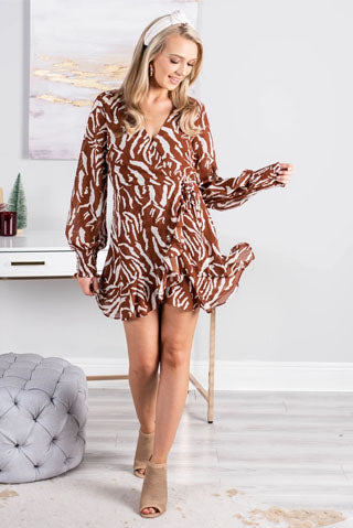 Get Next To You Camel Brown Tiger Stripe Dress