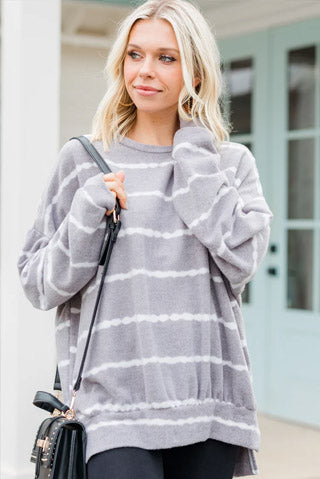 Give You A Chance Gray Striped Pullover