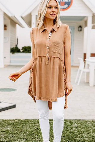 Have Your Attention Toffee Brown Sleeveless Tunic