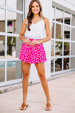 hot pink spotted shorts