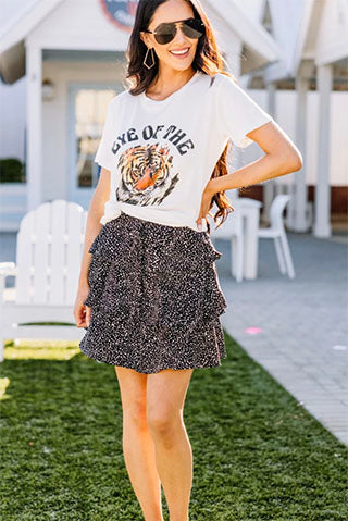 Nothing But Fun Black Spotted Skirt