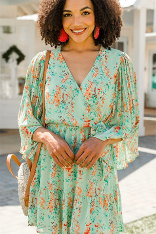 Picture It Sage Green Ditsy Floral Dress