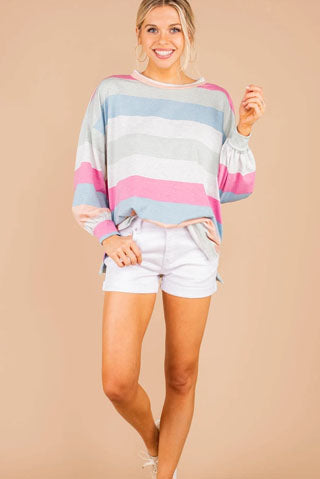 pink multi striped sweatshirt