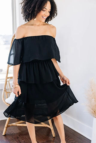 Ready For The Night Black Tiered Midi Dress