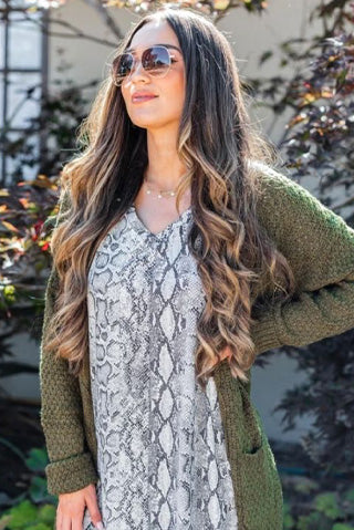 somebody to love olive green cable knit cardigan