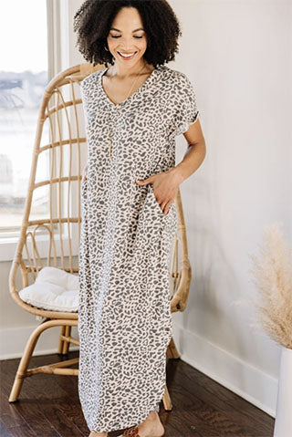 Stay Strong Blush Pink Leopard Maxi Dress